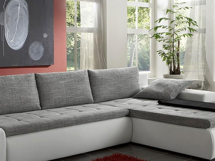 ecksofa alisa, 300x210cm, webstoff weiß-schwarz, kunstleder weiß ... - Wohnzimmer Couch Weis Grau